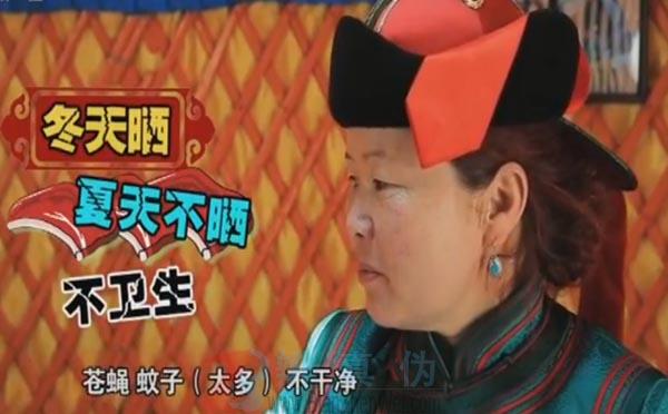 传统的蒙古族美食风干牛肉是生肉是真的。冬天就没有虫子了,完了以后一冻,肉一冻开就晒——辨真伪网