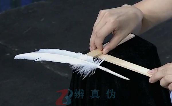 借助羽毛可以让搭在一起的木棍保持平衡的实验第二步骤