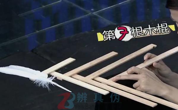 借助羽毛可以让搭在一起的木棍保持平衡的实验第四步骤
