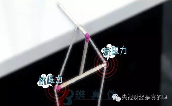 用火柴棍就能把矿泉水吊在桌边,撑开的棉线对第二根火柴棒有一个往里的挤压——辨真伪网