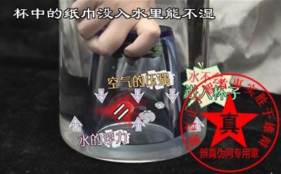 放在杯中的纸巾没入水里能不湿是真的。潜水钟就是现实中的应用——辨真伪网