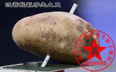 吸管能戳穿生土豆是真的。如果小孩坐在车里也不要用吸管来喝饮料,一旦有急刹车很容易被吸管伤到——辨真伪网